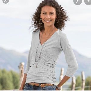 Sundance gray wrap top 3/4 sleeves